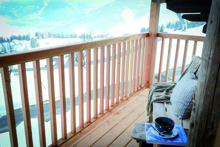 Balcon en bois chalet